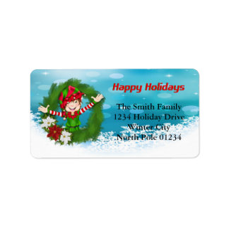 Happy Holidays Elf in Wreath Address Label