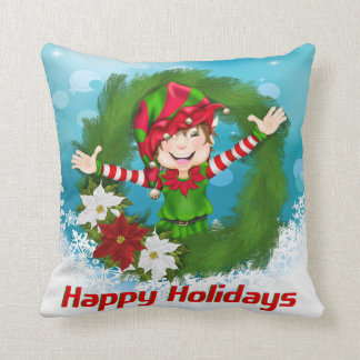 Happy Holidays Elf in Wreath Cushion