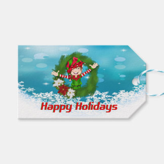 Happy Holidays Elf in Wreath Gift Tags