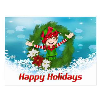 Happy Holidays Elf in Wreath Postcard