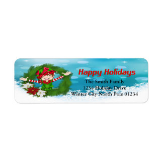 Happy Holidays Elf in Wreath Return Address Label