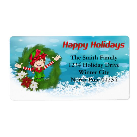 Happy Holidays Elf in Wreath Shipping Label