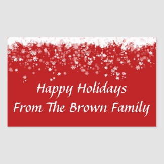 Happy Holidays Envelope Seal Stickers Template