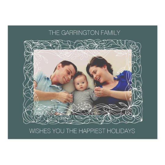 Happy Holidays Family Flower Border Card