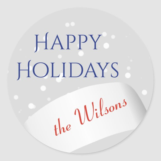 Happy Holidays Family Greeting Typography Classic Round Sticker