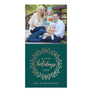 Happy Holidays Faux Foil Wreath Customised Photo Card