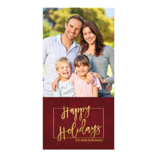 Happy Holidays Faux Gold Foil Hand-Lettered Photo Card