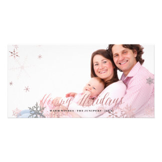 Happy Holidays Faux Rose Gold+Snowflakes Photo Card Template
