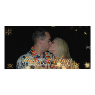 Happy Holidays Faux Rose Gold+Snowflakes Photo Greeting Card