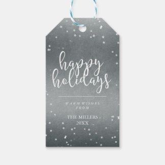 Happy Holidays | Faux Silver Foil & Stars Gift Tags
