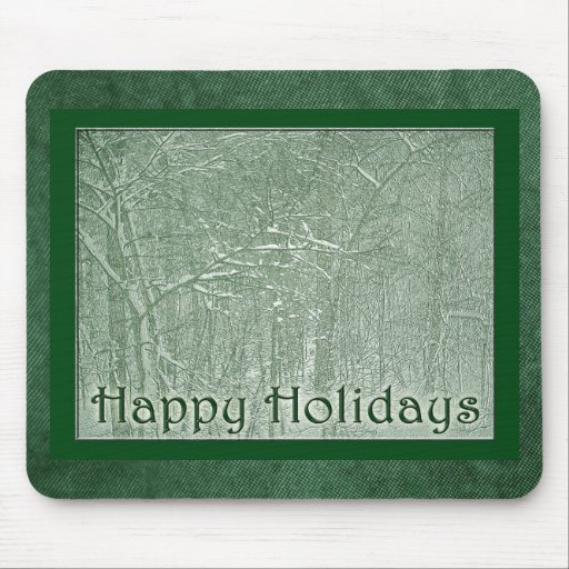 Happy Holidays February Snow Storm Mouse Pads