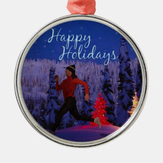 Happy Holidays - Female Runner Christmas Ornament