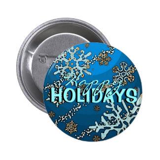 Happy Holidays festive blue snowflake button