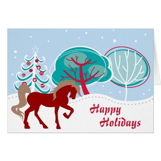Happy Holidays Festive Horse Snowy Christmas Card