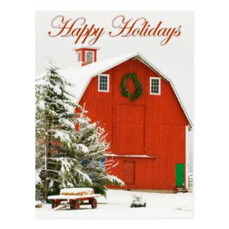Happy Holidays - Festive red barn in fresh snow Postcard