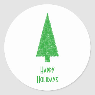 Happy Holidays. Festive Tree. Green Fir. Round Sticker