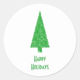 Happy Holidays. Festive Tree. Green Fir. Stickers