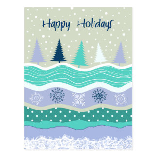 Happy Holidays Fir Trees Snowflakes Scrapbooking Postcard
