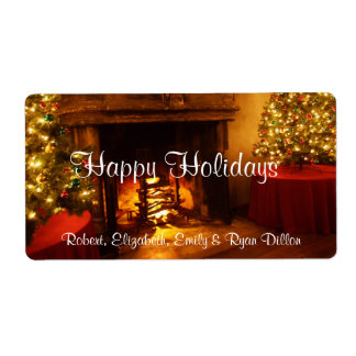 Happy Holidays Fireplace Christmas Tree Wine