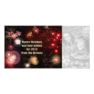 Happy Holidays Fireworks Personalized Photo Card