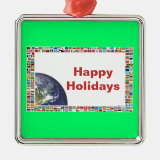 Happy Holidays Flags of the World Ornament