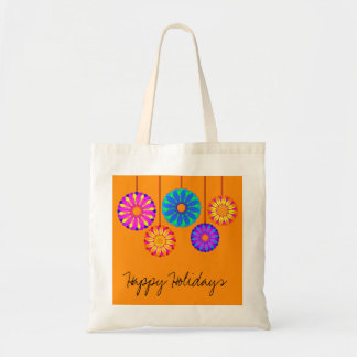 Happy Holidays Flower Decorations Budget Tote Bag