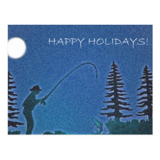 Happy Holidays Fly Fisherman in Snow Post Cards