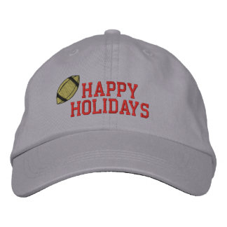 Happy Holidays Football Embroidered Hat