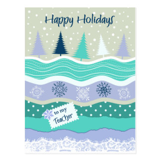 Happy Holidays for Teacher Snowflakes Scrapbooking Postcard