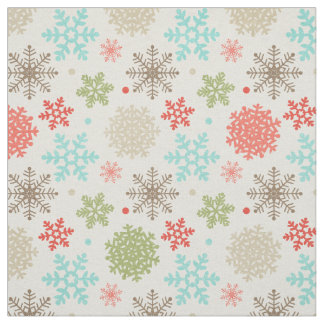 Happy Holidays Fox and Owl Snowflake Christmas Fabric