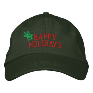 Happy Holidays Frog Embroidered Hat