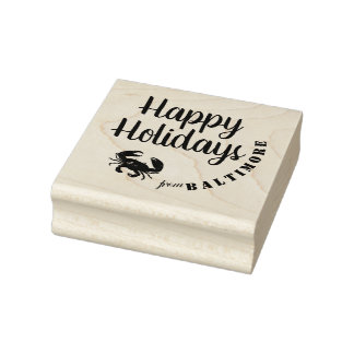 Happy Holidays from Baltimore with Crab Rubber Stamp