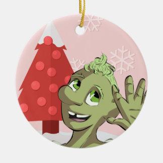 Happy Holidays from Bud Mushroom! Round Ceramic Decoration