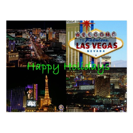 Happy Holidays from Las Vegas Scenic Postcard