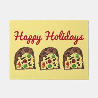 Happy Holidays Fruit Cake Fruitcake Christmas Xmas Doormat