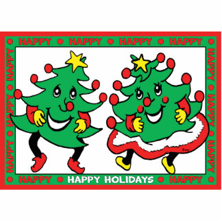 Happy Holidays Funny Dancing Christmas Trees Cut Outs