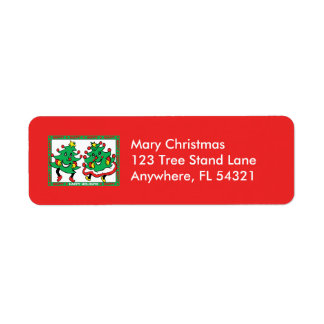 Happy Holidays Funny Dancing Christmas Trees Return Address Label
