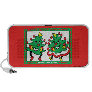 Happy Holidays Funny Dancing Christmas Trees Laptop Speakers