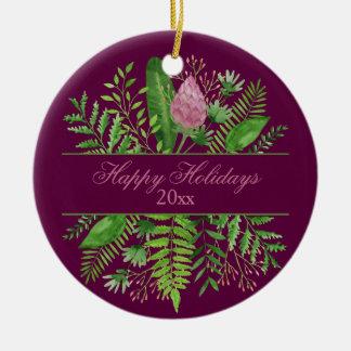 Happy Holidays Garden Woods Botanical Christmas Ornament