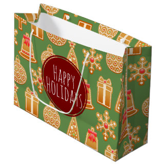 Happy Holidays Gingerbread Cookies Large Gift Bag