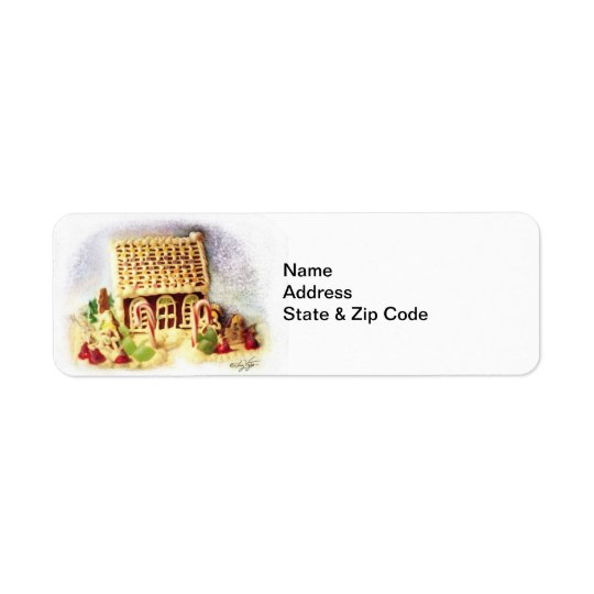 Happy Holidays Gingerbread House Avery Label Return Address Label