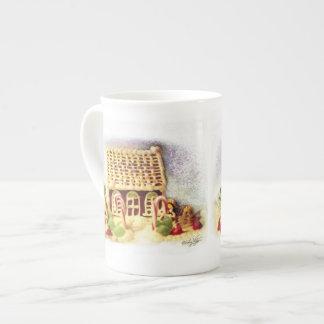 Happy Holidays Gingerbread House China Mug Tea Cup
