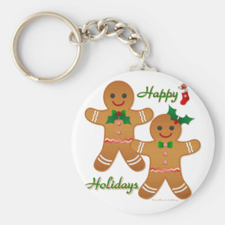 Happy Holidays Gingerbread Man Boy Girl Basic Round Button Key Ring