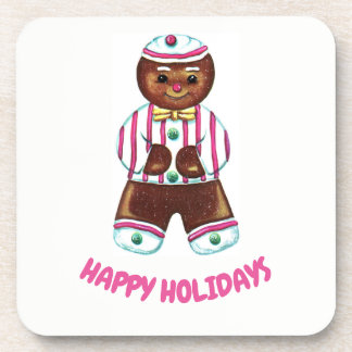 Happy Holidays Gingerbread Man Coaster
