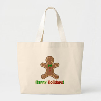 Happy Holidays Gingerbread Man Large Tote Bag