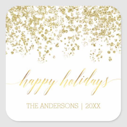Happy Holidays gold glitter Christmas Stickers