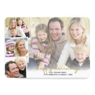 Happy Holidays Gold Hand Lettered Photo Collage Card
