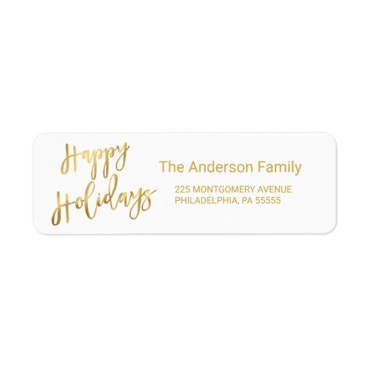 Happy Holidays Gold Hand-Lettered Typography Return Address Label