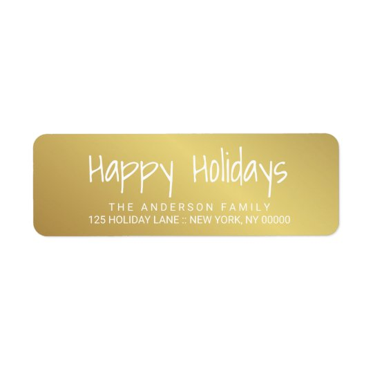 Happy Holidays Gold Hand-Printed Lettering Label