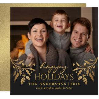 Happy Holidays Gold Holly Photo Flat Card